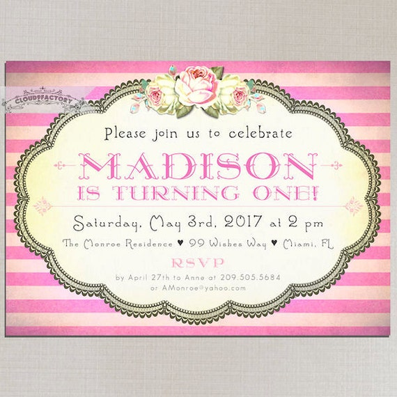 Printable Birthday Party Invitations Turning 1 Or Any Age Girl