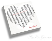 First Dance Lyrics Canvas Heart Shaped Words/ Wedding Lyrics Vows Quotes  Collage on Canvas Hart Shaped Wedding Canvas