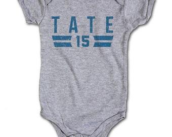 Golden Tate NFLPA Officially Licensed Detroit Lions Onesie 3M-24 Months Golden Tate Font