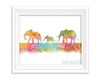 Elephant Family Art Print Elephant Watercolor Art Poster Painting Illustration Wall Art Wall Decor Home decor Wall hanging Gift (No 186)
