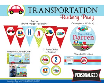 Transportation Birthday Party Package DIY Printable - for Boy (Car Plane Train Truck)