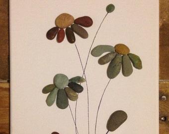 Black Eyed Susan Flower/ Pebble Art/ Collage/ Canvas Art/ Beach Stone Art/ Pen Drawing