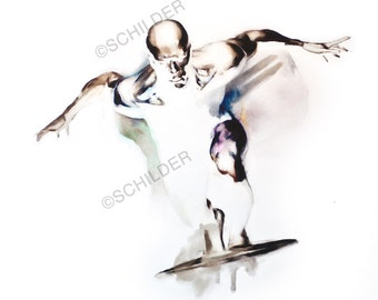 "Silver Surfer - Giclee Print on Somerset Velvet Watercolor Paper 18"" x 24"" - Free Shipping in United States"