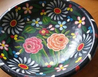 Vintage Folk Art Hand Painted Bowl
