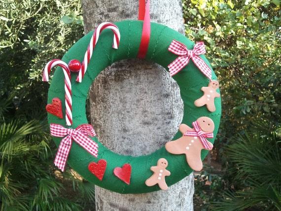 Ghirlanda di natale decorazione natalizia con candy canes - Ghirlanda porta natale ...
