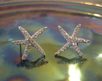 Silver Starfish Earrings - Stud Earrings - Rhinestone Starfish Earrings - Beach Earrings - Beach Wedding - Nautical Jewelry