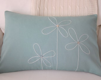Hand-Embroidered White Flowers on Light Blue Cotton Duck Lumbar Pillow Cover 12 x 18 Inches