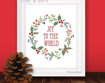 Joy to the world, christmas wreath christmas decor print, holiday decoration, Christmas printable art, christmas print, INSTANT DOWNLOAD