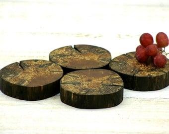 Live Edge Spalted Apple Wood Coasters Trivets