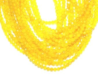 Yellow Agate Beads 4mm Faceted Round Full Strand, Solar Plexus Chakra Stone