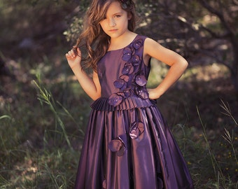 Couture Dress, Haute Couture, Special Occasion, Plum, White, Ivory or Navy Flower Girl Dress, Pageant Dress, Junior Bridesmaid Dress