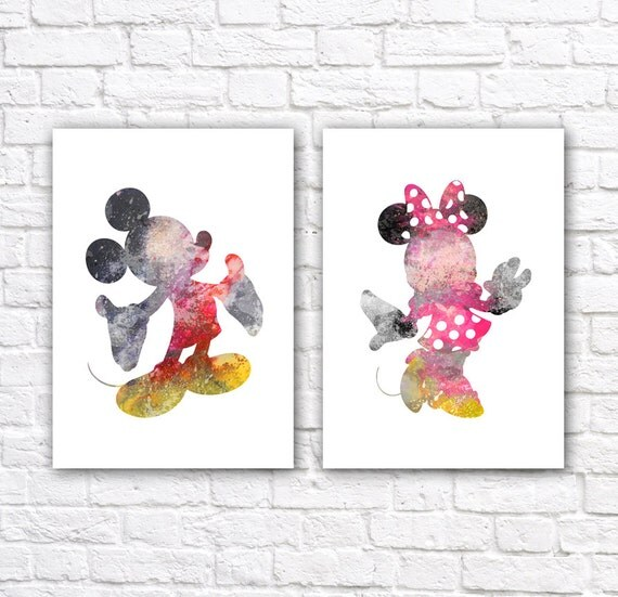 minnie and mickey mouse watercolor wall art poster set of 2 disney