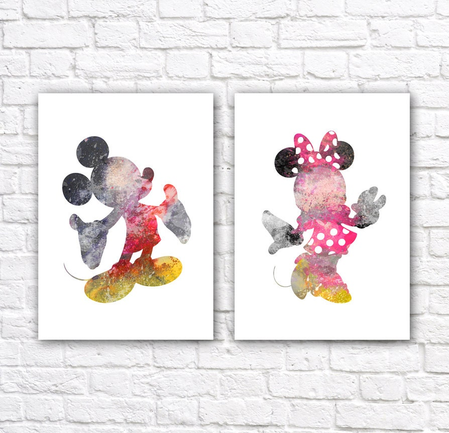 Minnie And Mickey Mouse Watercolor Wall Art Poster By