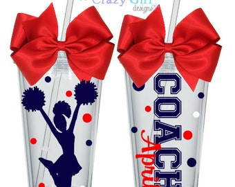 Personalized Cheerleader Coach Tumbler with Straw 16 oz. Acrylic Cup BPA Free Custom