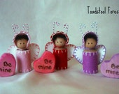 "Waldorf Valentine Love Bug Peg Doll with Wood Burned Wood ""Be Mine"" Heart~Valentine's Day Gift~Red, Pink or Purple~Ready To Ship"