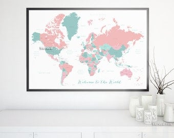 World map pastel etsy 30x20 printable world map with countries names us states canada provinces gumiabroncs Image collections
