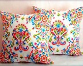 Multicolor reversible pillow sham – 20x20 pillow cover – Damask flower cushion cover – Dots throw pillow – Prada Indoor outdoor home decor