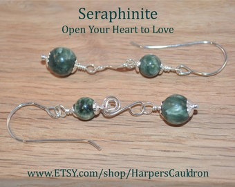 "Seraphinite Earrings, with Hand-Made Sterling Silver ""swirls"" and Fish-hook Earwires"