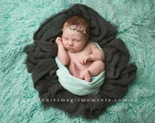 Mint Green Mongolian Faux Fur Baby Newborn Prop, Photography Props, similar to Flokati Wool,  Long Pile Artificial Fur Rug Basket Stuffer