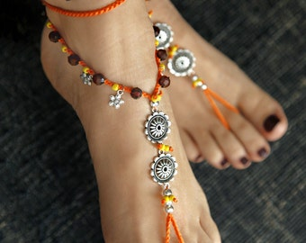 Boho Barefoot Sandals. Orange Silver Gypsy Shoes. Barefoot sandal