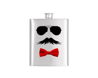 Personalized Bow Tie Aviator Moustache Bridal Party Groomsmen Flask Pack with Funnel Stainless Steel 8 oz Liquor Hip Flasks - Flask #144