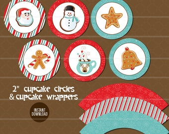 Holiday Cupcake Circles and Wraps // Christmas Cookie Exchange // Cookie Swap Red Blue Gingerbread