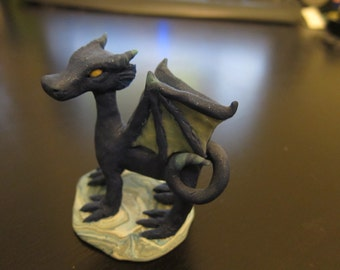 Standing Blue Dragon Clay Figurine