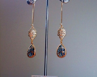 Blue cathedral glass and filigree earrings