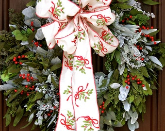 Christmas Wreath for Front Door - Fragrant Eucalyptus Red Berry Everlasting Wreath Luxury Holiday Front Door Decoration Hostess Gift