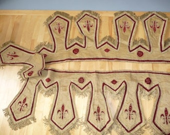 Rare French antique velvet and brass treads wall decoration - circa 1850