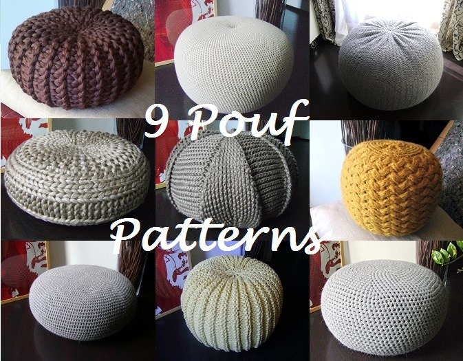 Knitted Ribbing Patterns : Crochet Pattern Knitting Pattern 9 Knitted & Crochet Pouf