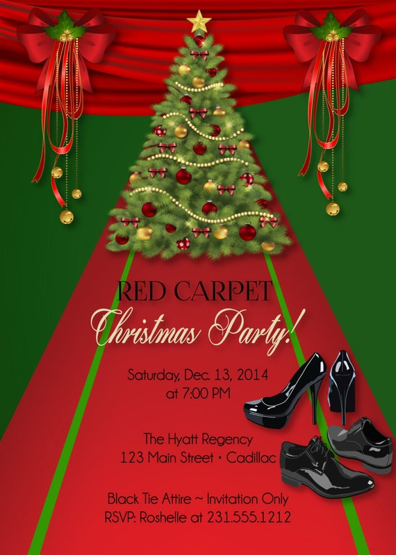 Custom Christmas Invitation Red Carpet Holiday Party