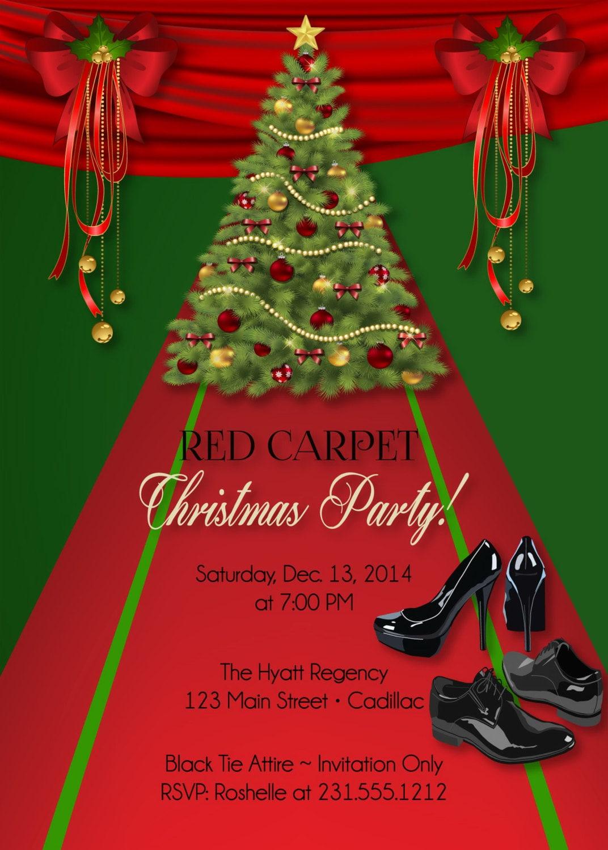 Custom Christmas Invitation Red Carpet Holiday Party