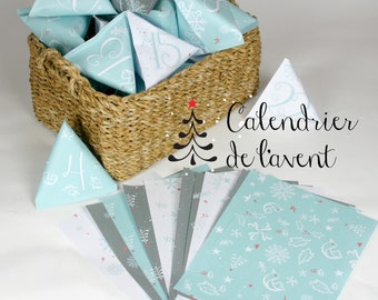 Printable advent calendar DIY christmas calendar with matching wrapping paper papercraft