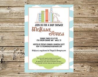 Gender neutral book baby shower invitation
