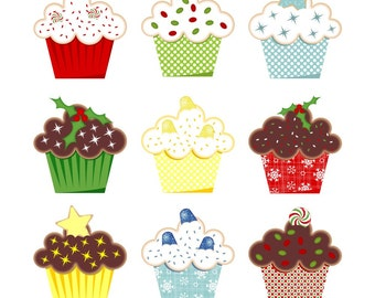 80% OFF SALE Holiday Cupcakes Clipart, Holiday Clip Art, Digital Cupcakes