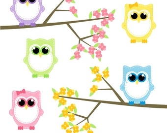 80% OFF SALE Baby Owl Clipart, Owl Clip Art, Digital Owls, Spring