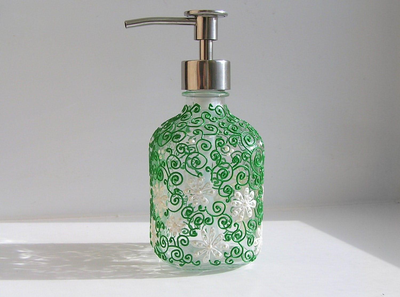 Glass Soap Dispenser Green Pump Dispenser Daisy By Navkasdecor