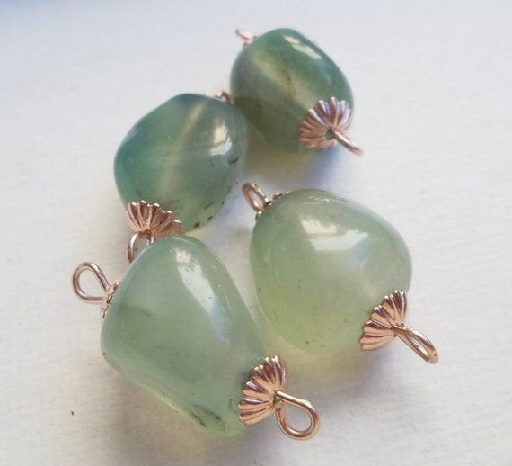 Handmade Rose Gold Connectors with 15 to 17mm Green Aventurine Gemstones and Rose Gold Bead Caps