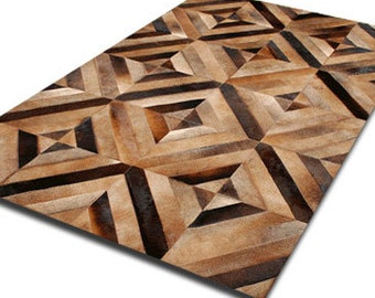 Cowhide Patchwork Rug DIAMOND PARQUET !! Amazing Design!. 4ft x 6ft