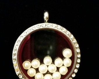 White Pearl Accent Floating Charm fit Origami owl lockets