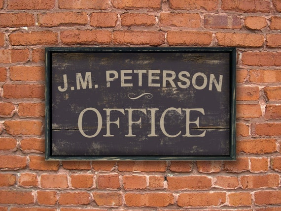 home office signage personalized wooden office sign framed out in distressed black