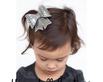 Charcoal Sequin Bow Headband or Hair Clip for all Ages