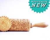 FOLKLOR FLOWERS & ANIMALS embossing rolling pin, laser engraved rolling pin. Folk art pattern.