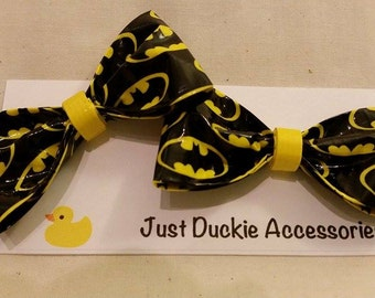 Batman duct tape Hair Bow, bobby pin pair