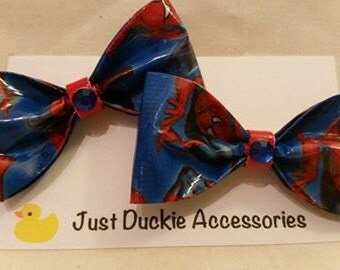 Spiderman Duck Tape Hair Bow, bobby pin pair