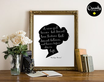 A WISE GIRL KISSES - Marilyn Monroe quote - Wall Art Print, typography artwork, printable art, inspirational quote, marilyn monroe print