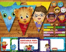 Printable Daniel Tiger Birthday Party Decoration / Daniel Tiger's Neighborhood Party Decor Instant Digital Download with Banner / Bunting