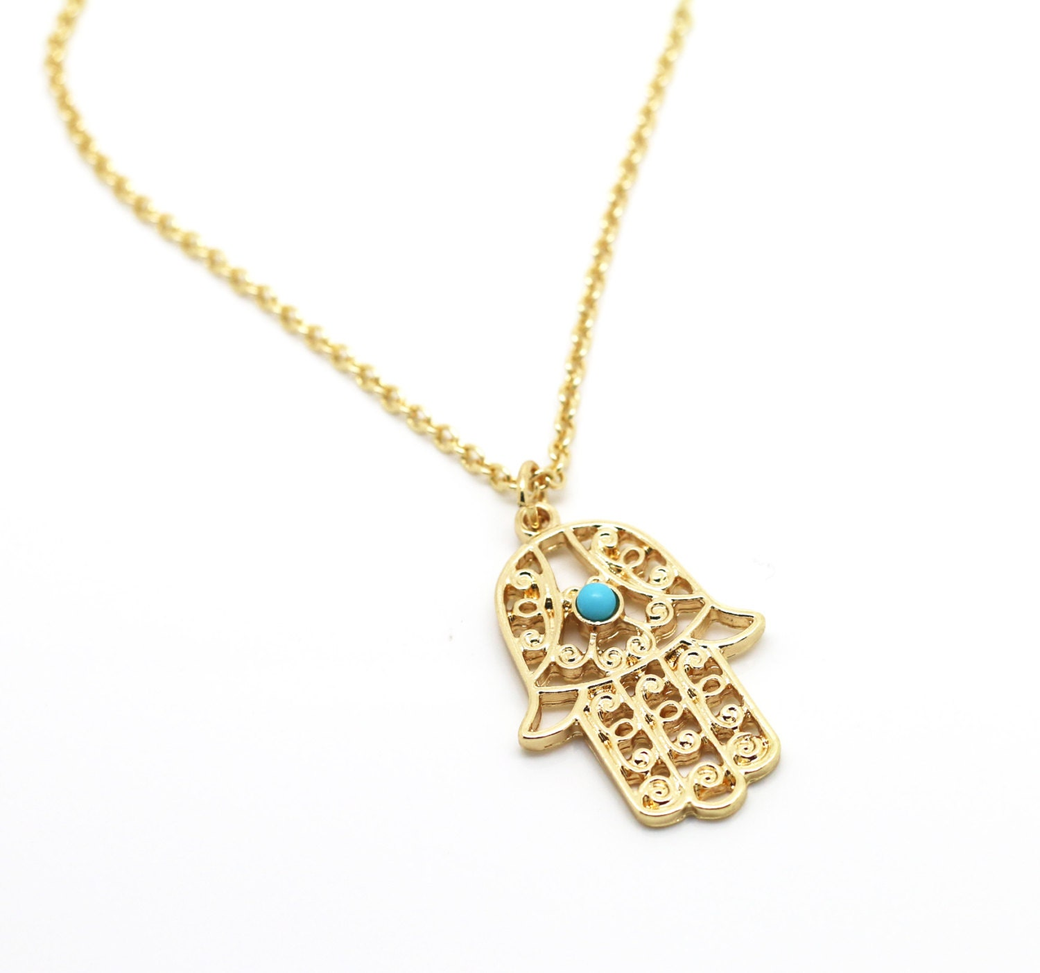 Gold filled hand necklace Hamsa necklace antique silver fatima