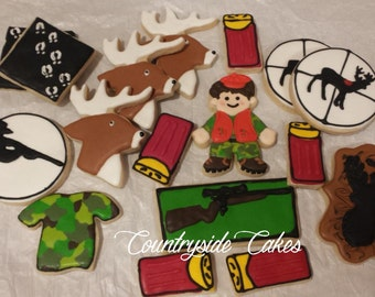 Hunting Hunter Decorated sugar cookies -17 cookies